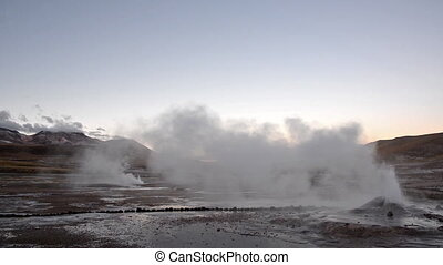 Geyser in Northern Chile - Steaming geyser in the El Tatio...