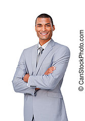 Attractive afro-american businessman with folded arms