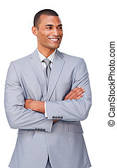 Pensive Afro-american businessman with folded arms