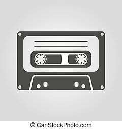 The tape icon. Cassette symbol. Flat Vector illustration