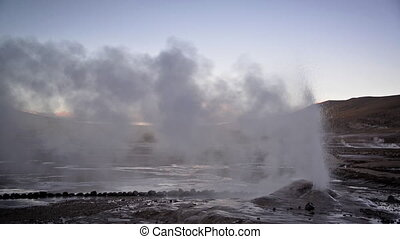 Early Morning Geyser - Geyser letting off steam in the El...