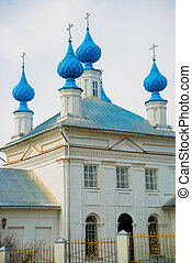 The Orthodox Church with blue domes in Russia.