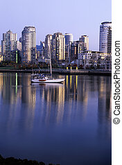 Vancouver skyline at dawn- Canada - Skyscrapers and...
