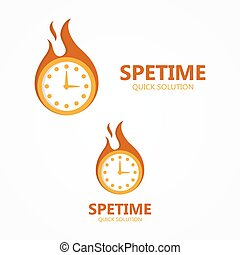 Vector logo or icon clock in a fire