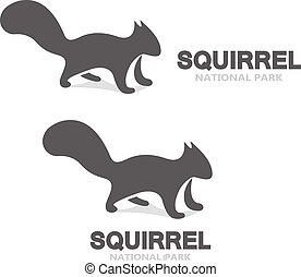 Vector gray squirrel logo or icon - Vector logo design...