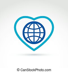Simple planet icon placed on a heart, vector globe conceptual symbol isolated on white background. Love Earth concept.
