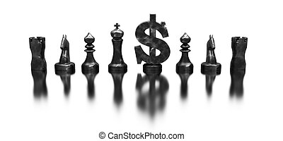 dollar symbol among the chess figures made in 3D