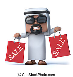 3d Arab has been to the Sales - 3d render of an Arab holding...