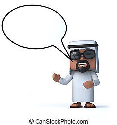 3d Arab with speech bubble - 3d render of an Arab with a...