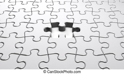 White Puzzle That Changing To Blue