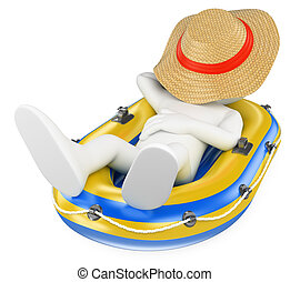 3D white people Man napping in an inflatable boat - 3d white...