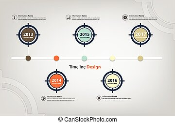 timeline & milestone in target theme infographic (Vector...