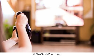 Video Game Console In Girl Hands While Playing - This is a...