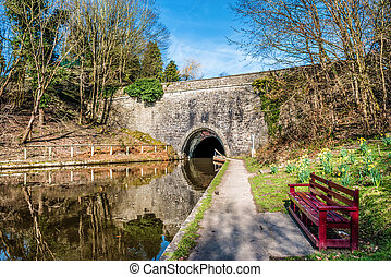 Tunnel entrance on The Llangollen canal in Wales - A tunnel...