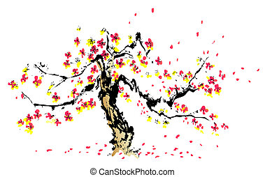 chinese painting of sakura  in a white background