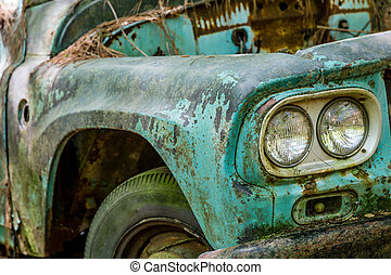 Fender of Old Ford Truck - DETROIT, MICHIGAN - May 11, 2015:...
