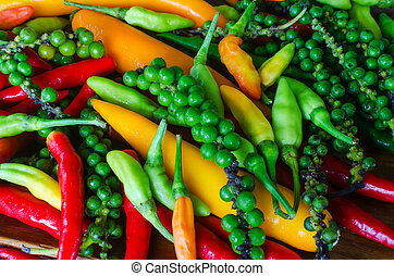 Colorful mix of peppers - Colorful mix of the freshest and...