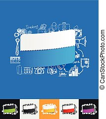 rectangle paper sticker with hand drawn elements - hand...