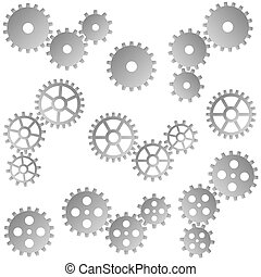 gears for cooperation symbolism - collection of gray gears...