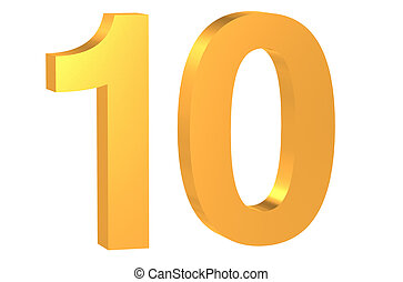 golden number 10 - 3D golden number 10 isolated on white...