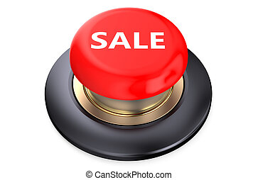 Sale Red button isolated on white background