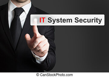 businessman pushing button it system security - businessman...