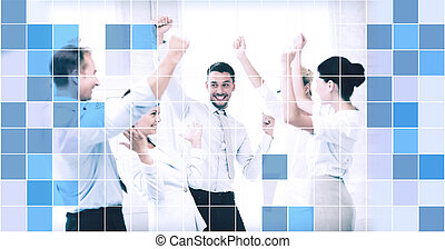 business team celebrating victory in office - business,...