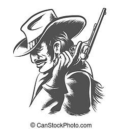 Shooter - Man in cowboy clothes with revolver in his hand....