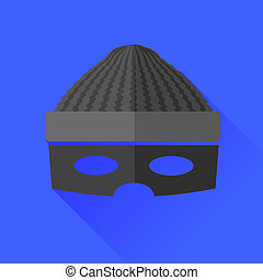Thief Icon Isolated on Blue Background. Long Shadow.