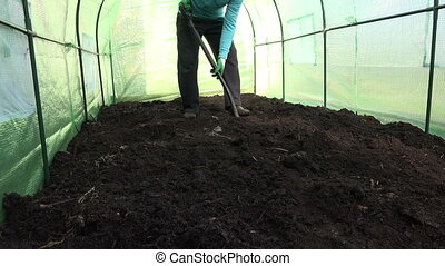 Farmer dig good soil - Happy farmer man dig ground in...