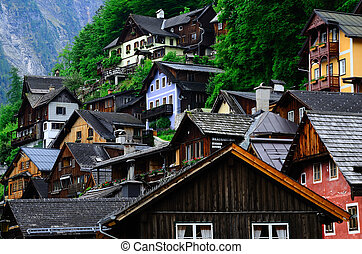 colorful houses in Hallstatt at the lake - colorful old...