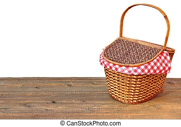 Picnic Basket On The Outdoor Wood Table Isolated Close-up -...