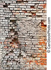 Broken Old Bricklaying From Red White Bricks And Damaged...