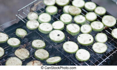 Squash on grill, bbq vegetables on the cell
