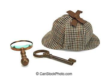 Sherlock, holmes, Deerstalker, gorra, vendimia, Aumentar,...