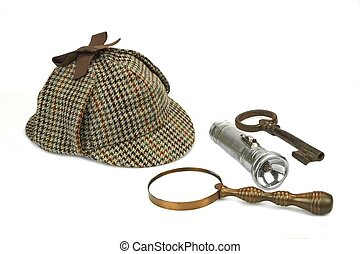 Sherlock Holmes Cap, Vintage Magnifying Glass, Retro Flashlight And Key