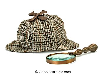 Sherlock Holmes Deerstalker Cap And Vintage Magnifying Glass Isolated