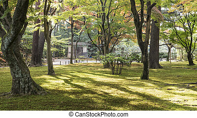 Kasumiga-ike Pond at Kenrokuen Garden in Kanazawa for adv or...