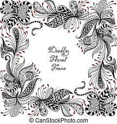 vector red, black and white floral pattern - vector red,...