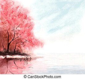 watercolor autumn background with red trees and lake water. vector illustration