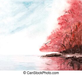 watercolor autumn background with red trees, sky and lake. vector illustration