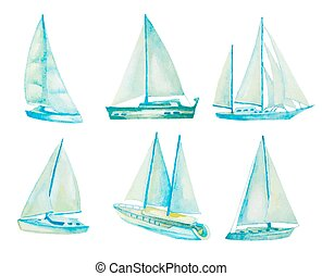 watercolor sailboats set, vector illustration