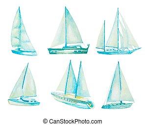 watercolor sailboats set, vector illustration