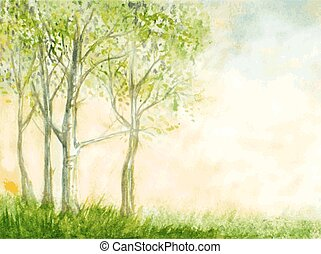 birch trees watercolor vector illustration. abstract nature background