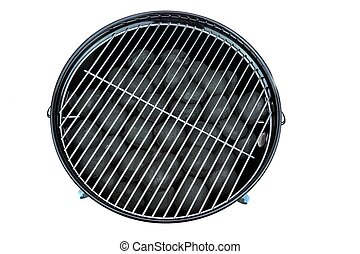 Empty New Clean BBQ Kettle Grill With Charcoal Briquettes...