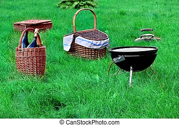 Picnic Scene With Two Basket And BB - Weekend Picnic Scene...