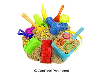 Large Groap Of Beach Toys On The Sand Isolated - Many Beach...