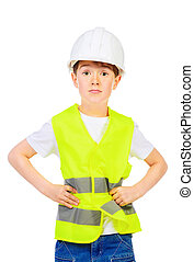 building occupation - Cute boy in a costume of a builder...