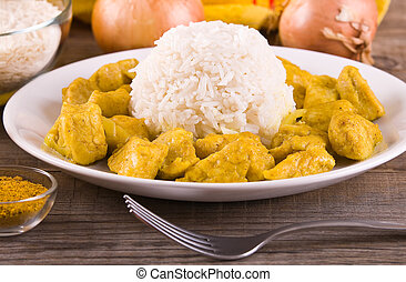 Chicken curry with rice Caribbean.