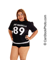 Girl in black sports outfit.